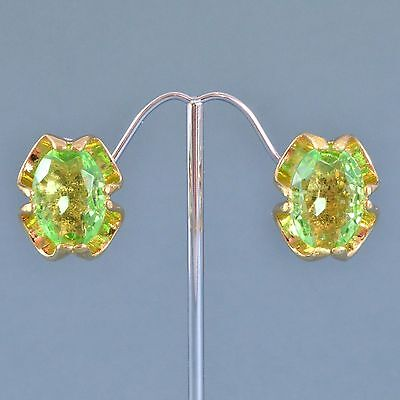 Vintage Earrings 1970s Pale Green Oval Cut Crystal Goldtone Bridal Jewellery