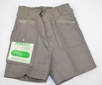 Vtg 1970's Briarcliff Campers Boys Heavy Duty Twill Camping Shorts, Gray 8 NOS