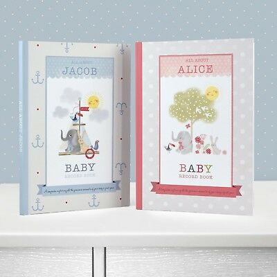 Boxed & Personalised Nursery Rhymes & Baby Record Book Boy Girl - Newborn Gift