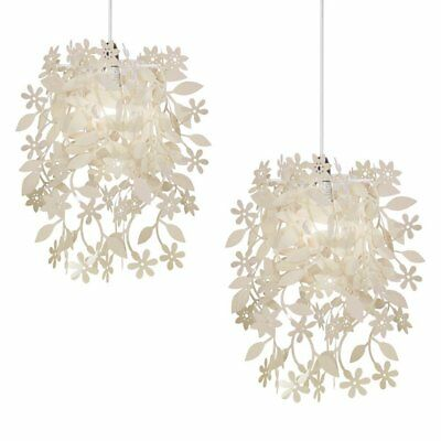 Pair of - Floral Ceiling Pendant Shades, Cream
