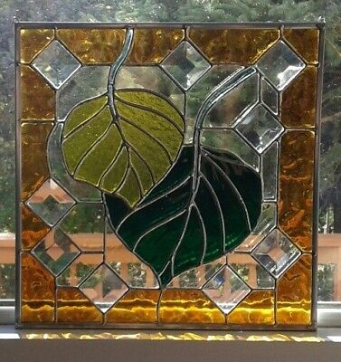 Stained Glass Aspen Leaves~ Gold ~ Green ~ Yellow~ 9 Bevels ~ Free Shipping