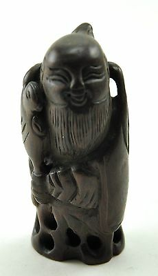 Vintage Boxwood Wood Hand Carved Figurine Elder of Moon Love deity Immortal