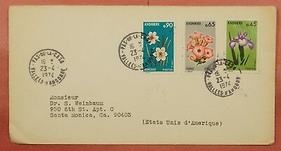 1974 Andorra French Flowers Multi Franked Cover To Usa