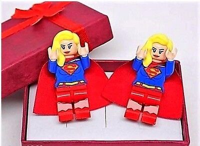 Handmade, LEGO® Supergirl Cufflinks, Silver Plated Toggles, Gift Boxed!