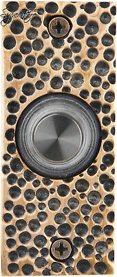 Waterwood Solid Brass Small Hammered Plate Doorbell in Antique Brass