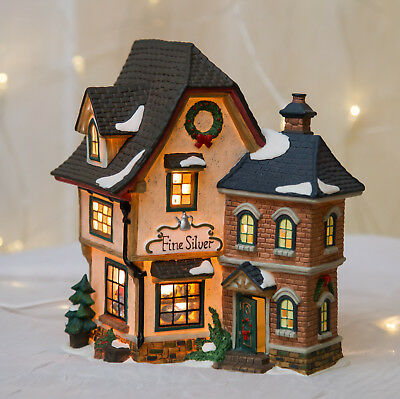 Christmas Village Houses.O Well Christmas Village House Fine Silver Snow Holiday Vintage Collectible