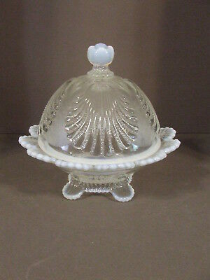 Mosser Usa Shell Crystal Opal Opalescent Round Covered Butter Dish