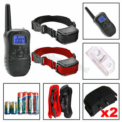 LCD 100 Level Pet Dog Training Collar Bark Stop Electric Shock Two Collars