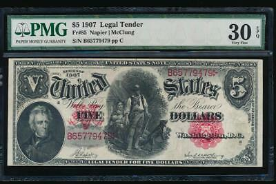 AC Fr 85 1907 $5 Legal Tender PMG 30 EPQ WOODCHOPPER Napier/McClung