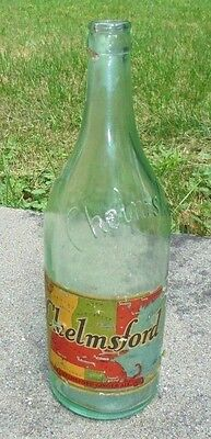 old aqua glass Chelmsford Ginger Ale  soda bottle graphic advertising label