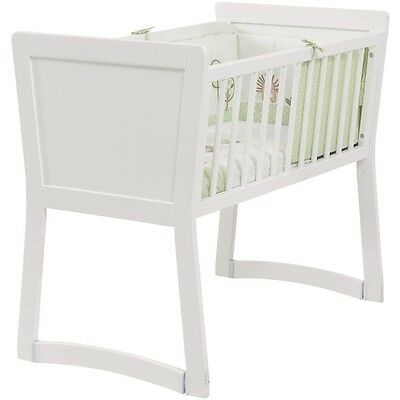 Rocking Crib in White, 2 in 1 New Baby Classic Nursery Bed