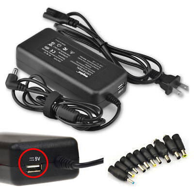 90W 10-Tip Multi Notebook Laptop Universal Power Supply Cord Charger AC Adapter