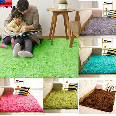Shaggy Fluffy Rugs Anti-Skid Area Dining Room Carpet Home Bedroom Floor Mat E