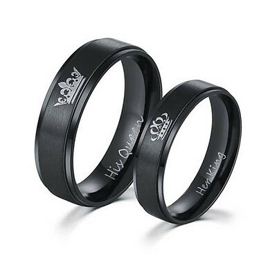 Stainless Steel His Queen and Her King Couple Rings for Lovers Couple Hot Sale