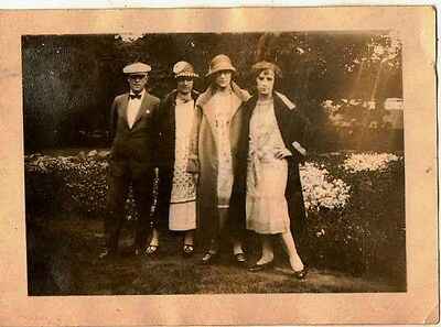 Old Antique Vintage Photograph Four People Wearing The Most Wonderful Outfits