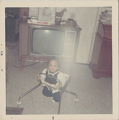 Old Vintage Photograph Adorable African American Baby & Retro Television Set TV
