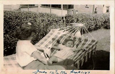 Antique Vintage Photograph Mom With Baby Laying in Hammock in Yard 1947