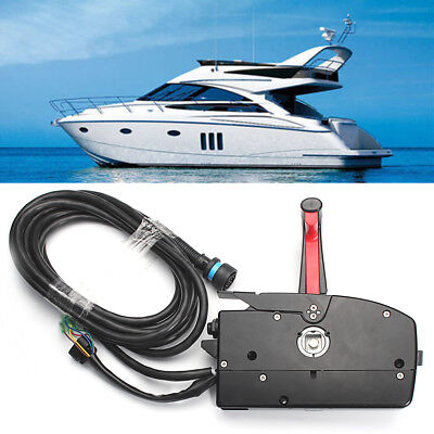 Boat Outboard Engine Side Mount Remote Control Box w/ 14 Pin Cable For Mercury