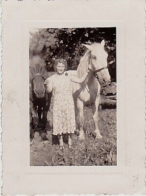 Old Vintage Antique Photograph Woman Holding Two Beautiful Horses 1940