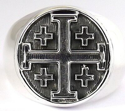Crusader Knight Cross Of Jerusalem Solid Sterling 925 Silver Mens Ring