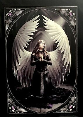 "Anne Stokes "" Prayer For The Fallen"" Large Ceramic Tile Gothic Fantasy"