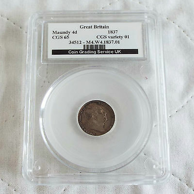William Iv 1837 Silver Maundy Four Pence Slabbed Cgs 65