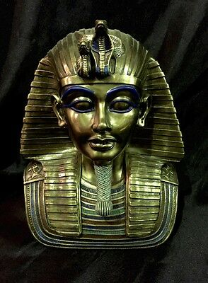 Bronze Cold Cast Coated  Statue of Egyptian Tutankhamun's  Gold Mask 22cm H