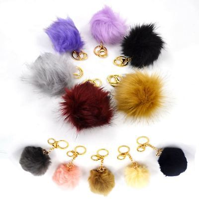 New Faux Fur Pom Pom Keyring. Keychain Fluffy Furry Pendant / Charm for Handbag