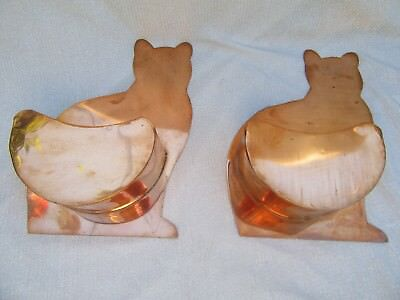 Lot of 2 Vintage Copper Cat Kitten Wall Pocket Planters Flower Pots Garden Decor