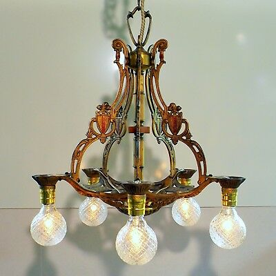 Vintage 1920s Art Deco Spanish Revival Bakelite Cast Iron 5 Light Chandelier