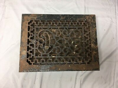Antique Cast Iron Heat Grate Floor Vent Register Vtg Decorative Old 14x10 42-17B