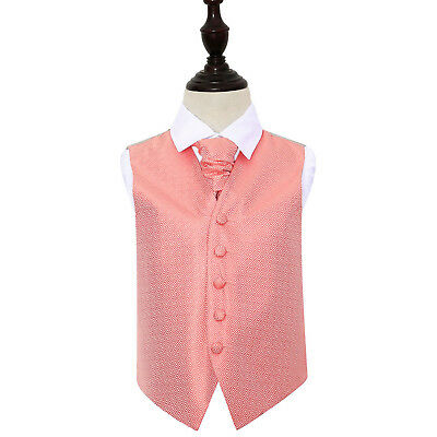 DQT Greek Key Patterned Coral Boys Wedding Waistcoat & Cravat