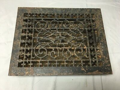 Antique Cast Iron Heat Grate Floor Vent Register Vtg Victorian Old 12x9 45-17B