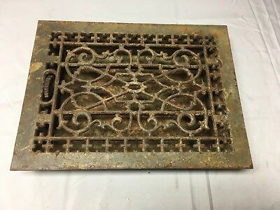 Antique Cast Iron Heat Grate Floor Vent Register Vtg Victorian Old 14x10 46-17B