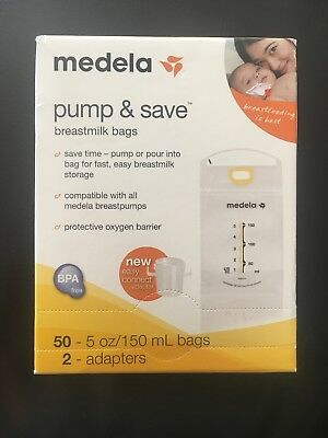 Medela Pump and Save Breast Milk Bags 50 Count INCLUDES 2 ADAPTERS NEW!