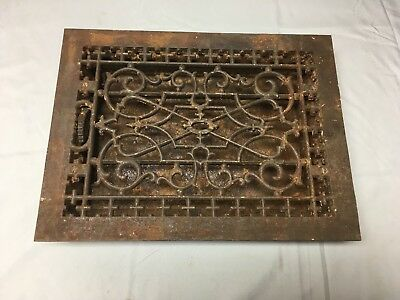 Antique Cast Iron Heat Grate Floor Vent Register Vtg Victorian Old 14x10 47-17B