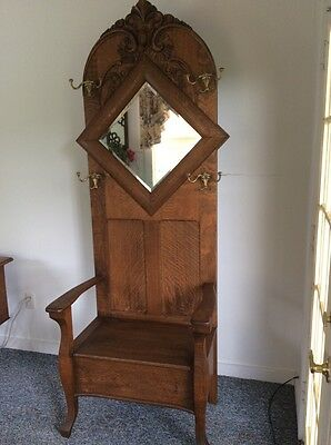 Large ornate Antique Oak Hall Seat w/Lift  Up Lid