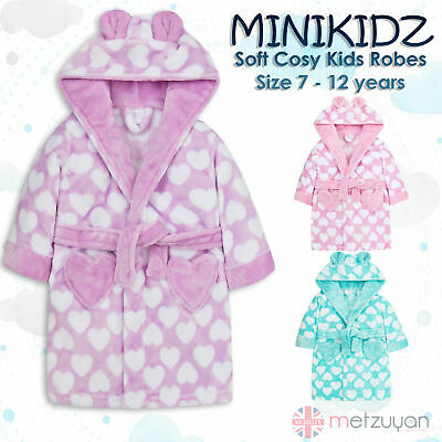 4Kidz Kids Childrens Girls Heart Print Dressing Gown Fleece Hooded Robe New