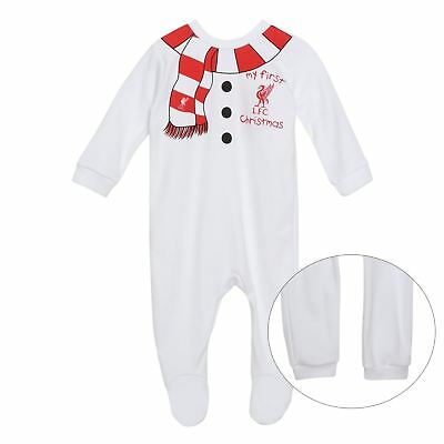 Liverpool FC LFC Baby Boys Girls White Christmas Sleep Suit Sleepwear Official