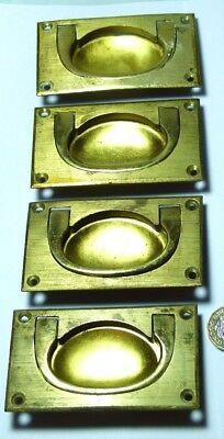 Antique Set 4 X Brass Campaign Ship Chest/drawer/door Handles Military
