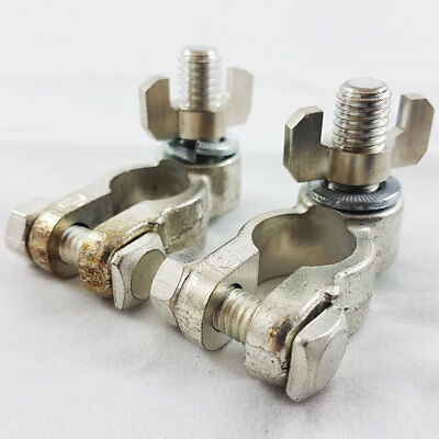 Pair Of Car Battery Terminals Heavy Duty Stud Wing Type 10mm Stud