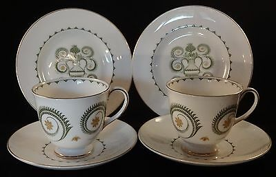 2 Two Susie Cooper 1960's Retro Assyrian Motif Trios Teacups Saucers Side Plates