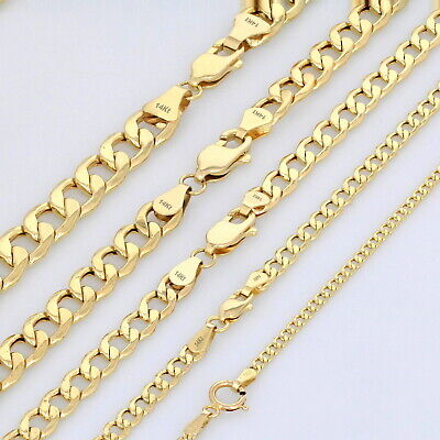 "14K Yellow Gold 2mm-7.5mm Curb Cuban Chain Link Pendant Necklace Bracelet 7""-30"""
