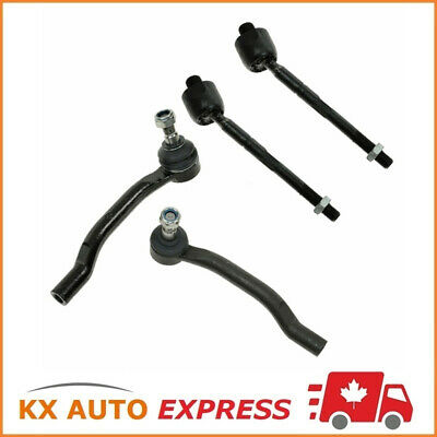 Set of 4 Pieces Front Inner & Outer Steering Tie Rod End Kit (Left & Right)
