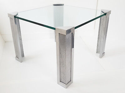 PETER GHYCZY : COFFEE TABLE SQUARE 61,5 x 61,5 METAL & GLASS VINTAGE 1970 70'S