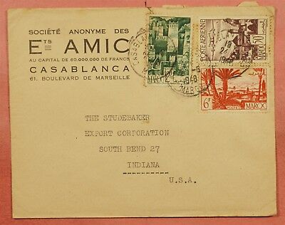 1948 French Morocco Multi Franked Airmail To Studebaker Car Co Usa