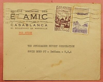 1948 French Morocco Multi Franked Airmail Cover To Usa
