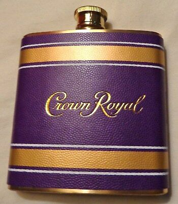 Crown Royal Whisky Stainless Steel Flask..Bright Purple & Gold Cover..6 oz...NEW