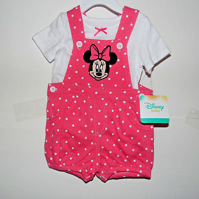Disney Minnie Mouse Infant 2 piece Shortalls Outfit Size-0-3M or 6-9M NWT