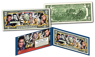 ELVIS PRESLEY Historic Moments Life & Times Genuine U.S. $2 Bill - Licensed